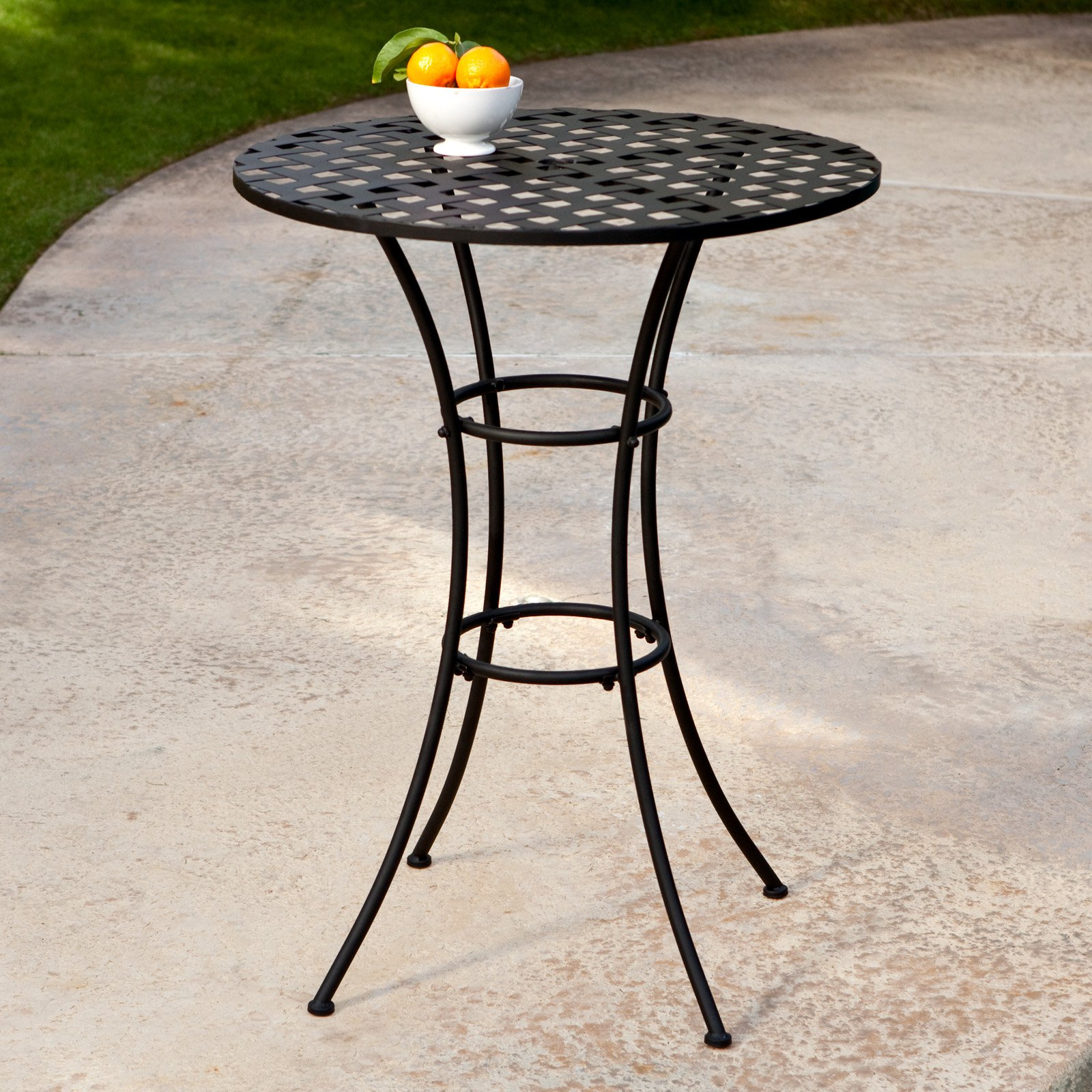 Belham Living Capri Wrought Iron Bar Height Bistro Table By Woodard