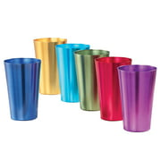 "Colorful Retro Style Aluminum Rainbow Tumblers - Set of 6 - Great for Parties or Everyday Use - Vibrant Jewel Tones - Holds 16 oz. - 3.25"" Dia x 5.25""H"