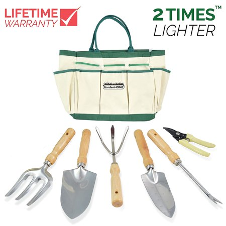 Gardening Hand Tools (Garden Tool Set with Gardening Tote Bag and 6 Tools(Garden Tool and Tote)