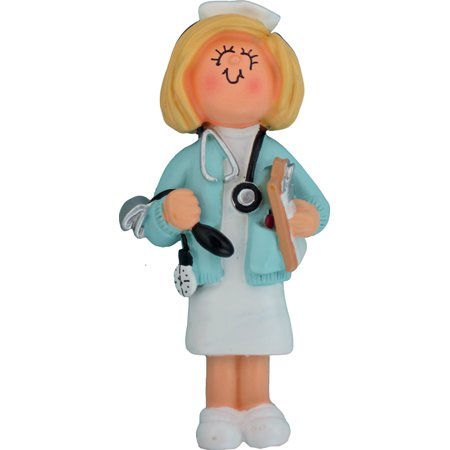 Nurse Female Blonde Personalized  Christmas Ornament DO-IT-YOURSELF](Nurse Ornaments)