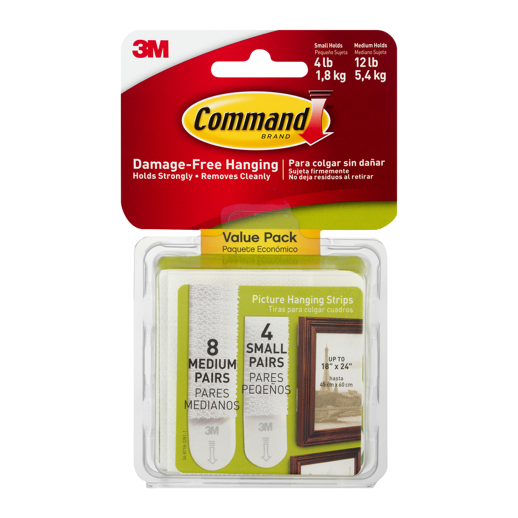 Command Damage-Free Hanging Small/Medium Picture Hanging Strips - 12 CT