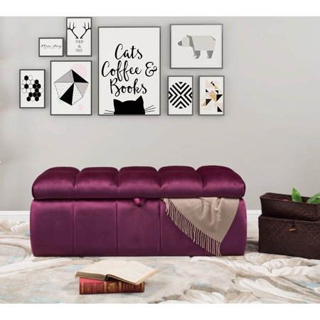 Miraculous Chic Home Fiesta Bench Velvet Tufted Storage Ottoman Modern Transitional Plum Ncnpc Chair Design For Home Ncnpcorg