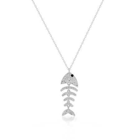 Silver Fish Necklace (925 Sterling Silver Clear White CZ Fishbone Fish Bones Skeleton Pendant Necklace )