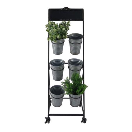 Cheungs 5032 Metal Rolling Cart with 6 Removable Metal Pots & Chalkboard