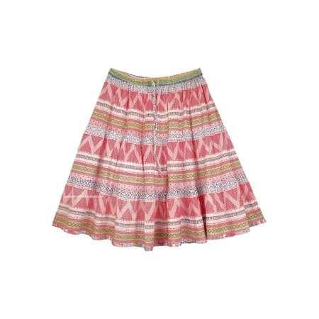 Short Full Cotton Skirt in a Hippie Red Print Lined Elastic Waist