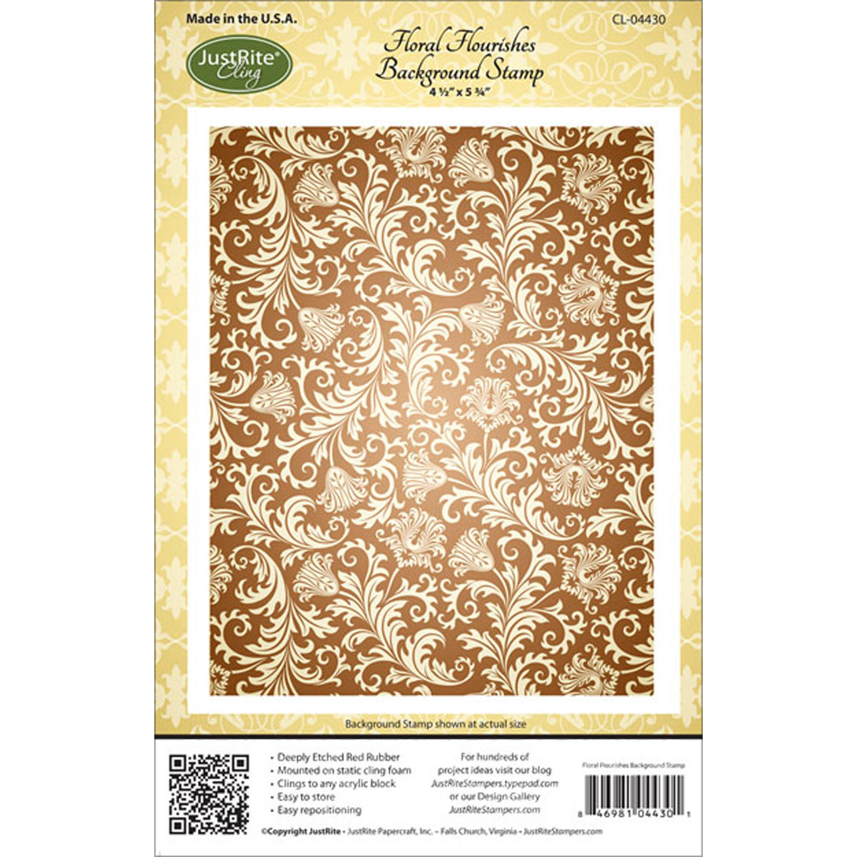 "JustRite Papercraft Cling Background Stamp 4.5""X5.75""-Floral Flourishes"