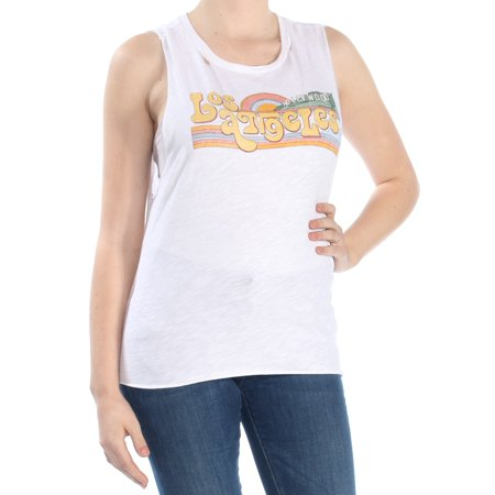 LUCKY BRAND Womens White Printed Sleeveless Jewel Neck Top  Size: M