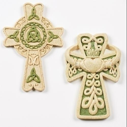 """Pack of 6 Irish Inspired Celtic Knot and Claddagh Accented Wall Crosses 6.5"""""""