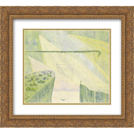 - Mikalojus Ciurlionis 2x Matted 22x20 Gold Ornate Framed Art Print 'Andante (Sonata of the Serpent)'