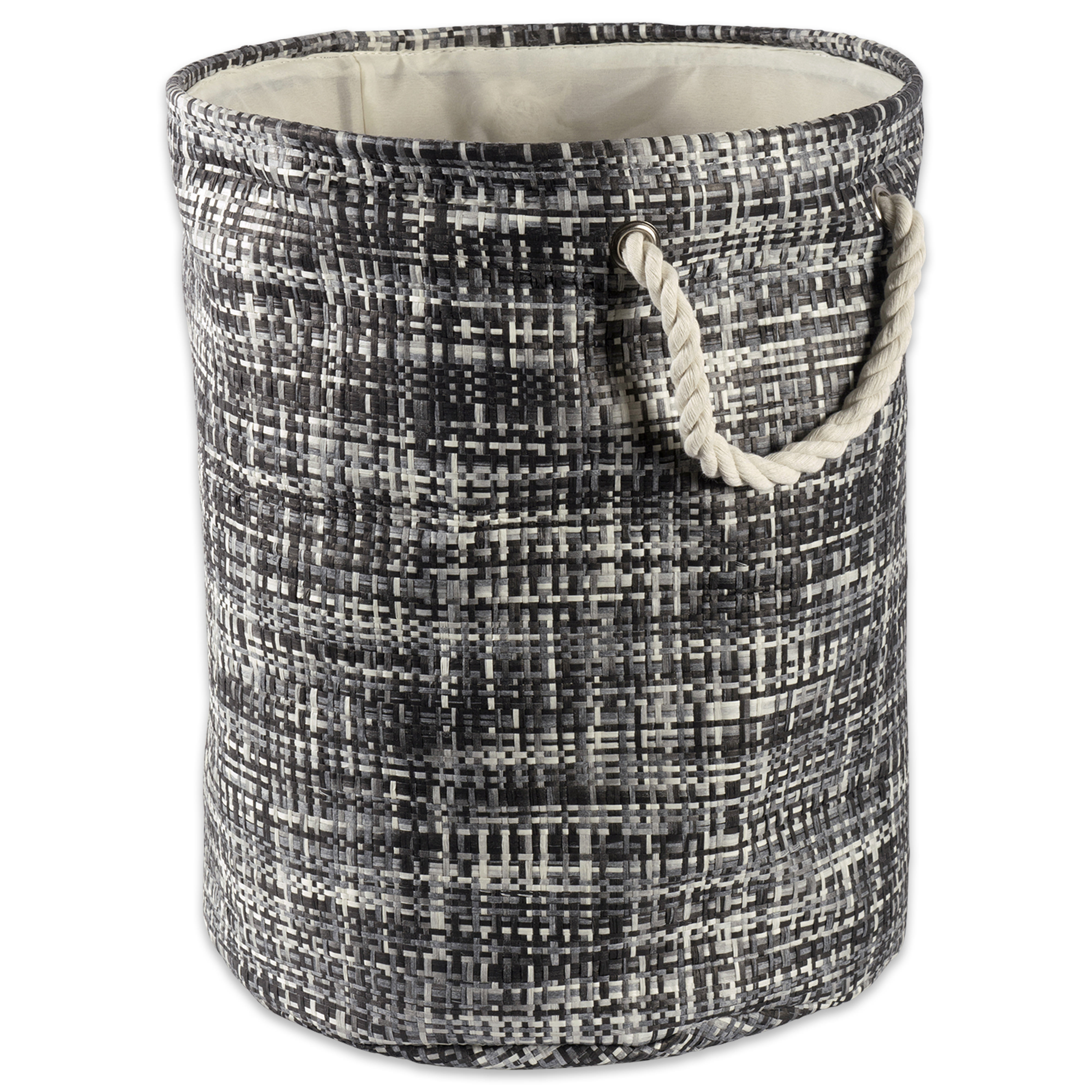 """Design Imports Paper Bin Tweed Black Round Small, 14""""x14""""x12"""", 100% Natural Woven Paper, Black"""