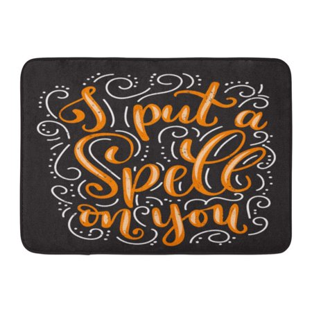 KDAGR I Put Spell on You Halloween Quote Flourishes and Effect Inspirational Phrase Modern Lettering for Party Doormat Floor Rug Bath Mat 23.6x15.7 inch - Floor 10 On 100 Floors Halloween