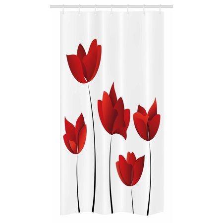 Exquisite Rose (Floral Stall Shower Curtain, Valentines Inspired Exquisite Rose Petals Vivid Blossoms Florets Nature Illustration Image, Fabric Bathroom Set with Hooks, 36W X 72L Inches Long, Red, by Ambesonne)