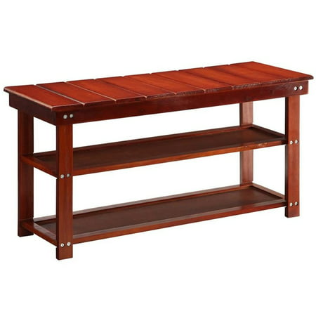 Convenience Concepts Oxford Utility Mudroom Entryway Bench in Cherry Wood Finish - image 3 de 3