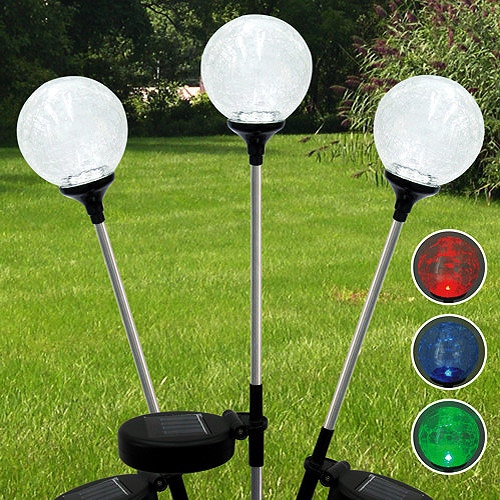 Three Solar Powered Crackled Glass Globe Lights 3-Pack Set