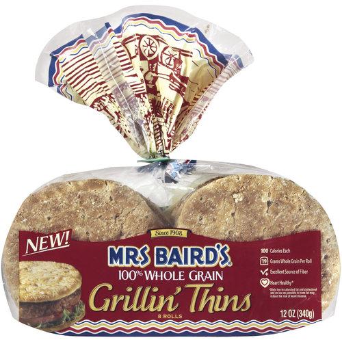 Mrs. Baird's, 100% Whole Wheat Grain Grillin Thins, 8 ct