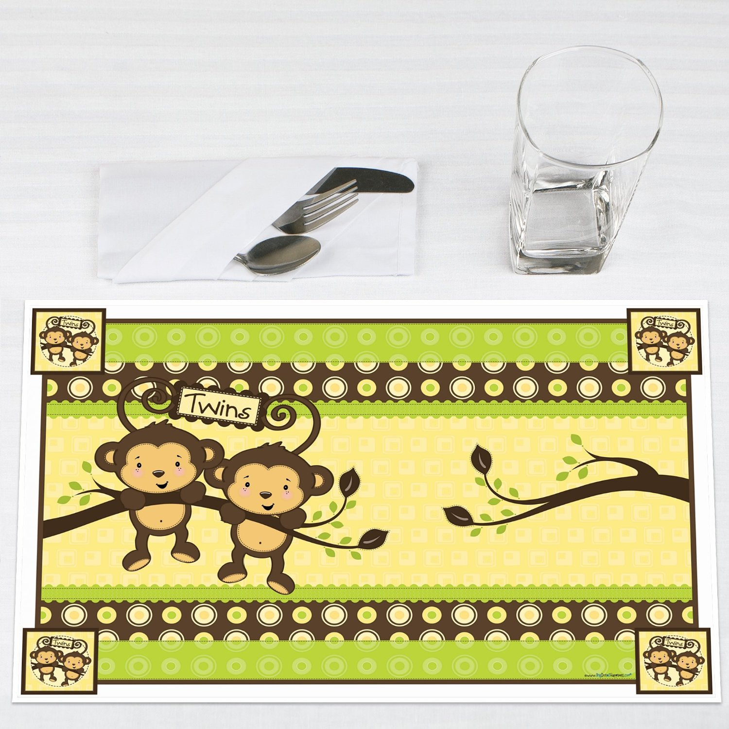 Twins Monkey Neutral Party Placemats Set of 12 by Big Dot of Happiness, LLC