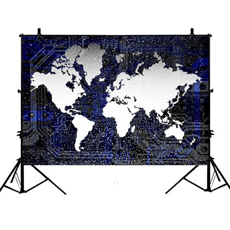 PHFZK 7x5ft Earth Backdrops, World Map Photography Backdrops Polyester Photo Background Studio Props - Mlp Background