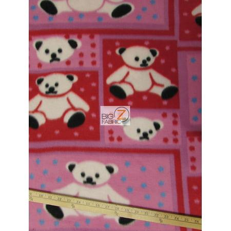 Fleece Printed Fabric Animal Bear Pink Red Bear Sold