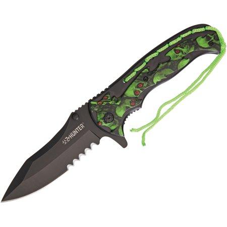 """Z-Hunter 144GN Linerlock Folding Knife 4.63"""" Closed 3.63"""" Blade Green Skulls"""