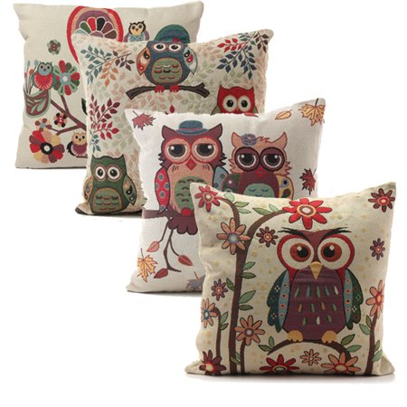 Owl Decorative Throw Pillow Case Cushion Cover Clearance 18x18 inch Square Zipper Waist Pillowcase Pillow Protector Slip Cases Sham for Home Bedroom Couch Sofa Bed (Own Square)