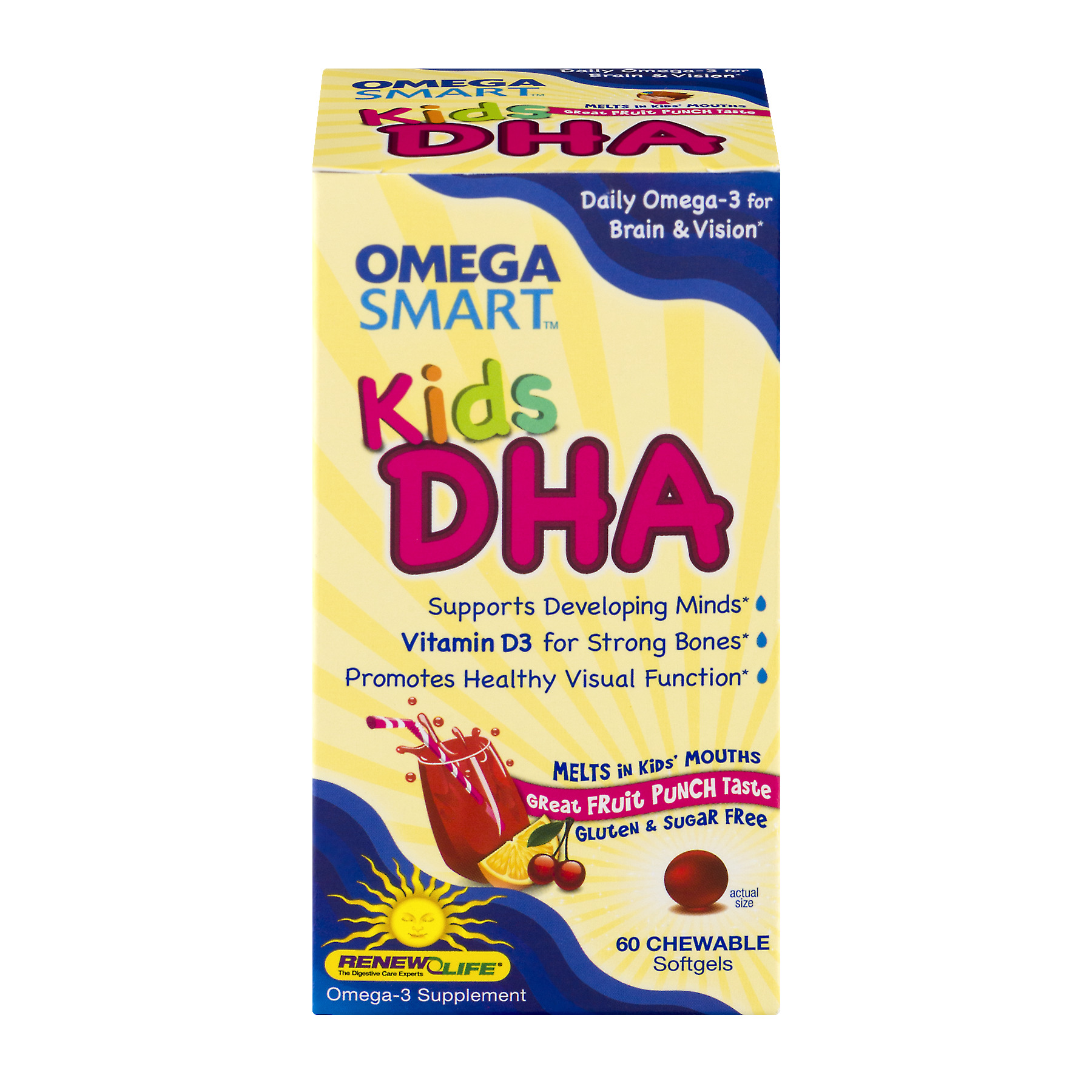 Renew Life Omega Smart Kids DHA Chewable Softgels Fruit Punch - 60 CT