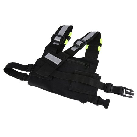Radio Harness Chest Rig Bag Front & back Reflective Double Pocket Holster Vest - image 6 de 9