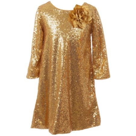 Little Girls Shiny Sequin Short Sleeve Holiday Christmas Party Flower Girl Dress Gold 4 (K40D8) Shiny Party Dress