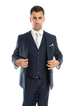 Mens Suit Three Piece Slim Fit Solid Collar Vest Suits