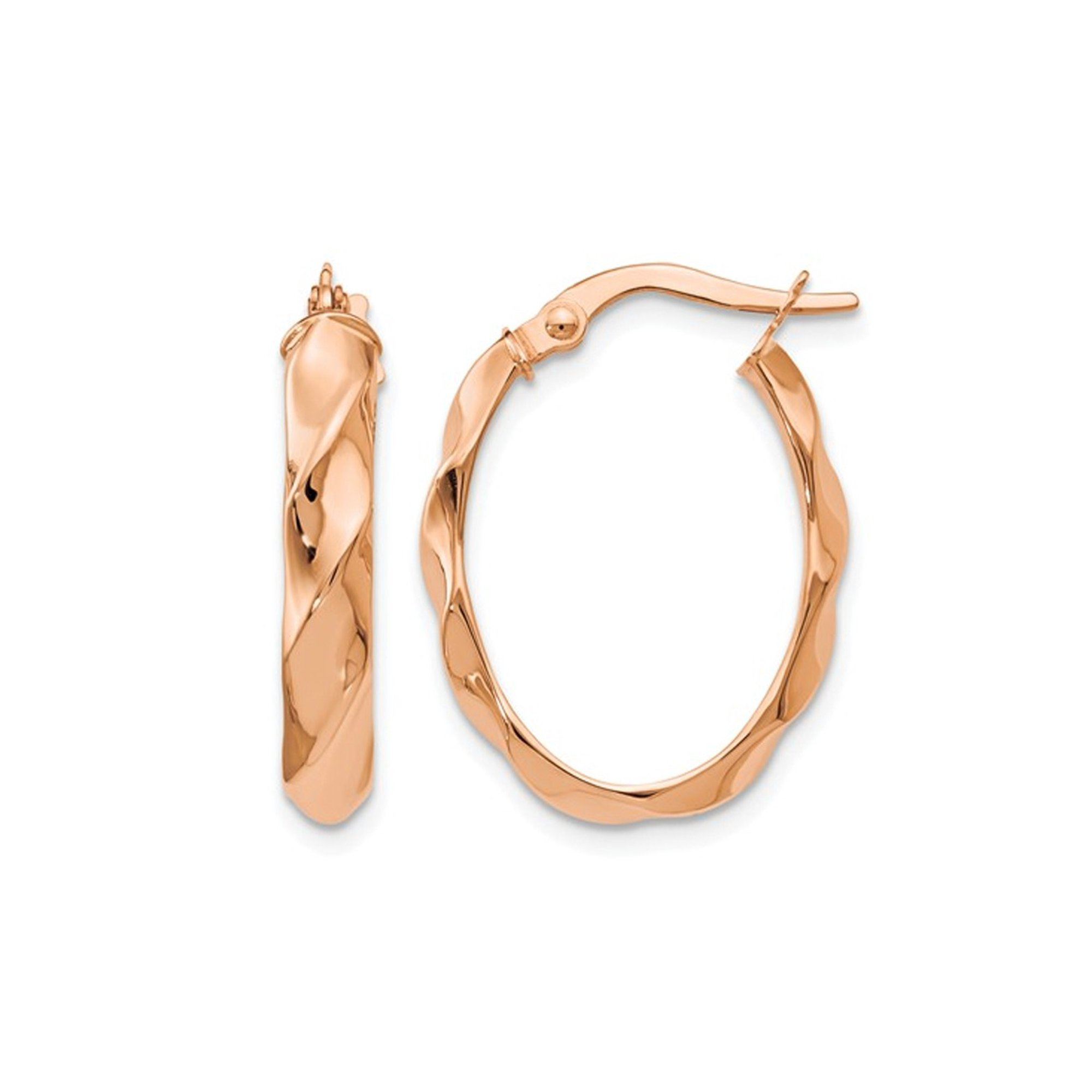 8f6a826cd6b09 Polished Twisted Hoop Earrings in 14K Rose Pink Gold (4.00 mm Thick)