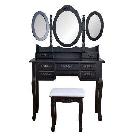 Makeup Vanity Table, Vanity Set with Tri-Folding Mirror, Wood Dressing Table w/Stool&7 Drawers Storage Bedroom Furniture for Girls Women Black - Dressing Up Ideas For Girls