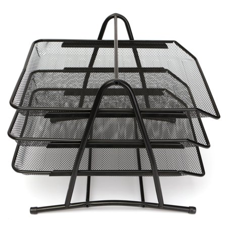 3 Tier Mesh Desk Tray (Caveen 3 Tiers Letter Trays Desk Organizer Black Mesh Paper Storage Document)