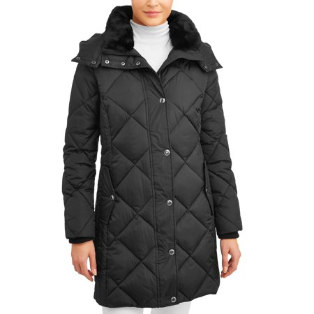 F.O.G. Women's Poly Fill Puffer Jacket with Faux Fur Hood