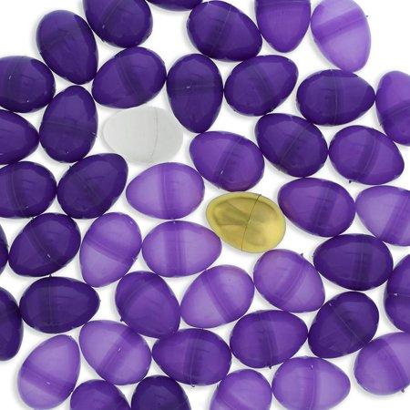 Set of 46 Purple Plastic Eggs + 1 White Egg + 1 Golden Easter Egg (Gold Eggs)