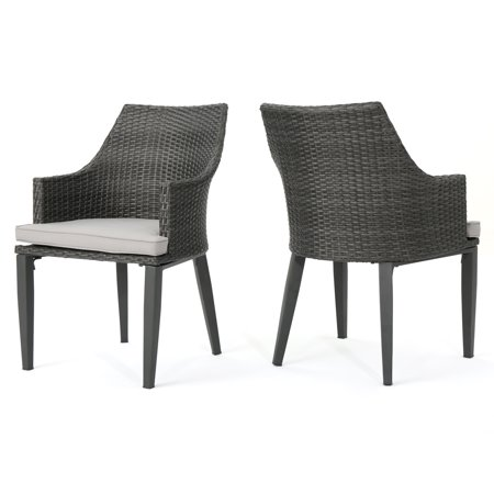 Hillcrest Outdoor Wicker Dining Chairs With Weather Resistant Cushions Set Of 2 Grey And Light