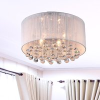 """White, Silver and Chrome 17"""" Chandelier"""