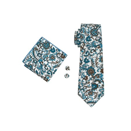Men's Barry Wang Blue Brown & White Paisley 100% Cotton Neck tie Hanky Cufflinks Set