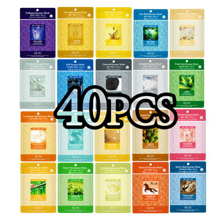 40pcs Korean Essence Facial Mask Sheet, Moisture Face Mask Pack Skin (Best Korean Face Mask Review)
