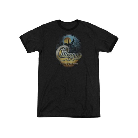 Chicago American Rock Band Live In Concert Logo Adult Ringer T-Shirt Tee - Chicago Halloween Concert