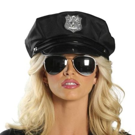 Police Officer Cap Cops Hat Law Enforcement Halloween Costume Accessory Black - Law Enforcement Party Supplies