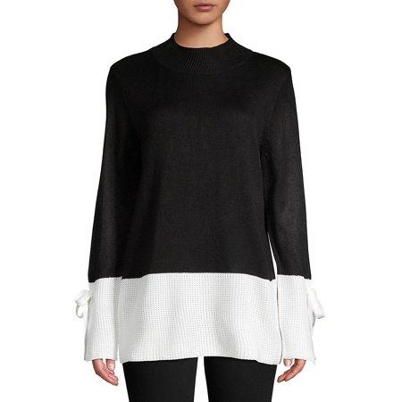 Colorblock Mockneck Sweater (Calvin Klein Embroidered Sweater)