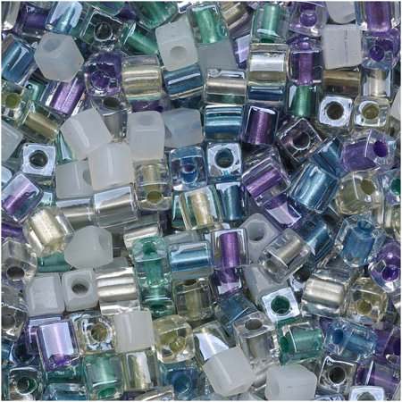 10 Paper Beads - Miyuki 4mm Glass Cube Beads Color Mix Serenity Greens Purples 10 Grams