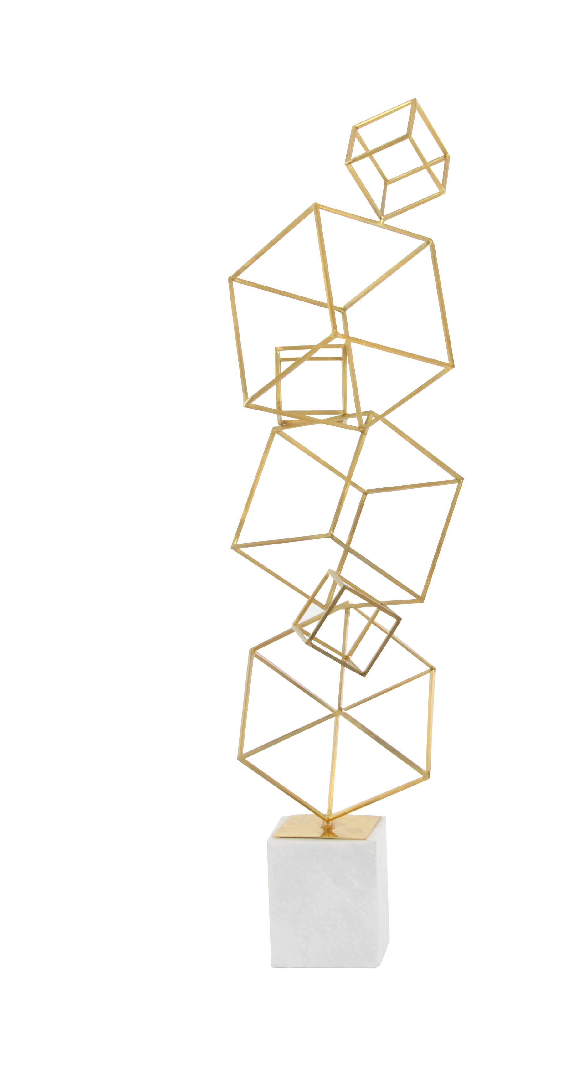 Decmode Contemporary 36 X 16 Inch Iron and Marble Cube Tower Sculpture, Gold by DecMode