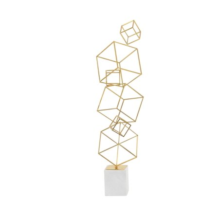 Decmode Contemporary 36 X 16 Inch Iron and Marble Cube Tower Sculpture, Gold