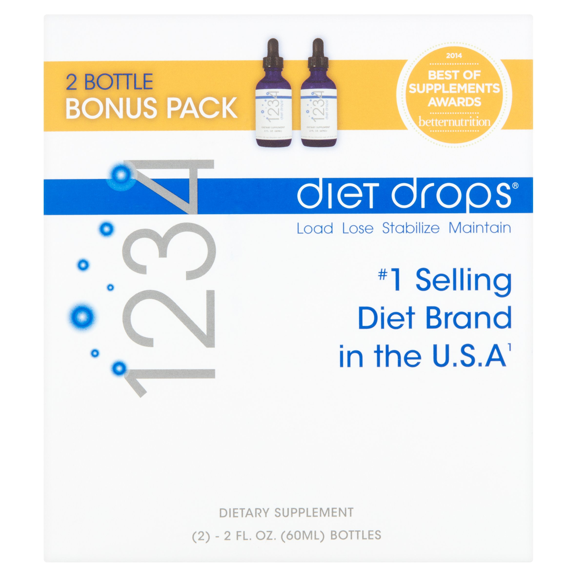 Creative Bioscience 1234 Diet Drops Appetite Suppressant Weight Loss Supplement, 2 Fl oz, 2 Ct