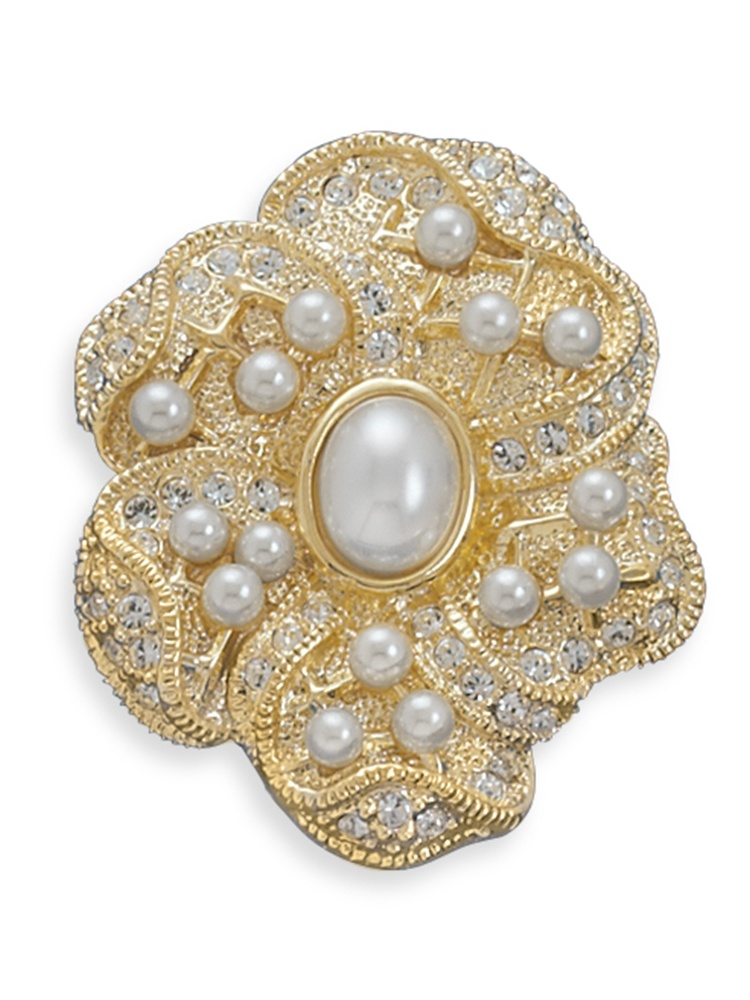 Simulated Pearl and Gold-plated Floral Design Fashion Pin Brooch by unknown