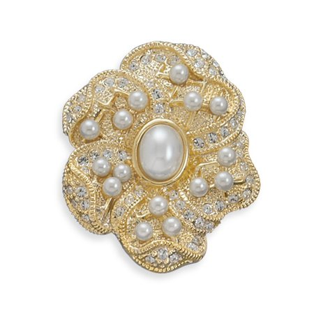 7476ca15af7 Wildfire Fashion - Simulated Pearl and Gold-plated Floral Design Fashion Pin  Brooch - Walmart.com
