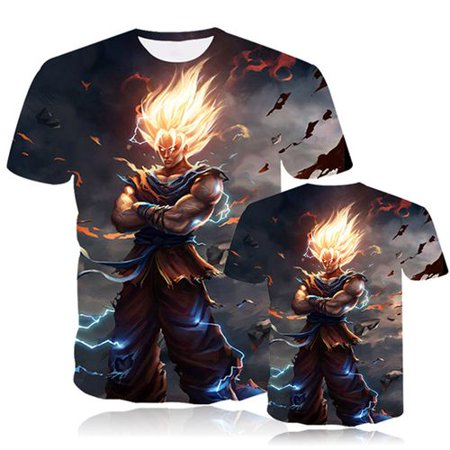 TURNTABLE LAB Unisex Dragon Ball Z Goku T-Shirt 3D Graphic Printed Anime Short Sleeve Tee