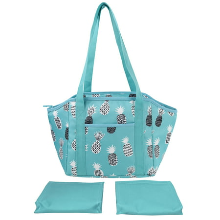 Mainstays Satchel Lunch Kit with 2 Matching Ice Packs, Aqua Pineapple