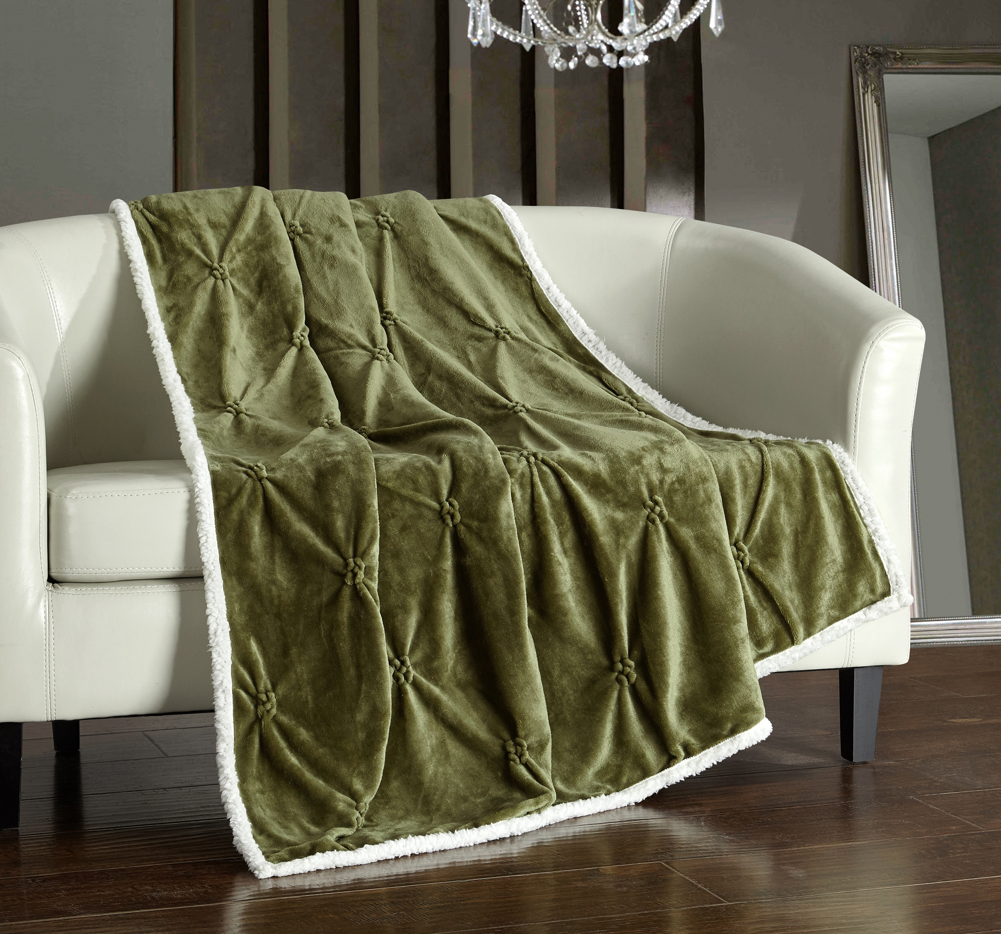"""Chic Home 1 -piece Barbuda Pinch Pleated Sherpa Lined 50x60"""" Throw Blanket Sherpa Blanket Green"""