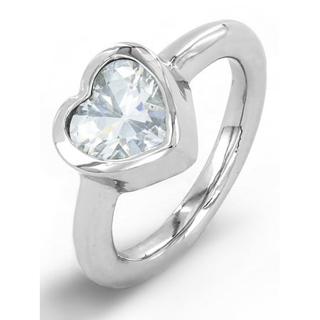 Stainless Steel Heart Cut Inlaid Cubic Zirconia Ring